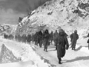 U.S. Marines March South from Kotori, Withdrawing from the Chosin Reservoir in North Korea