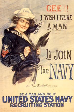 U.S. Navy I'd Join the Navy WWII Propaganda Vintage Plastic Sign