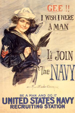 U.S. Navy I'd Join the Navy WWII Propaganda Vintage Poster