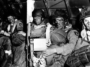 U.S. Paratroopers with Blackened Faces in a C-47 Transport Aircraft on D-Day