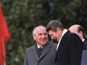 U.S. President Ronald Reagan, Right, Talks with Soviet Leader Mikhail Gorbachev