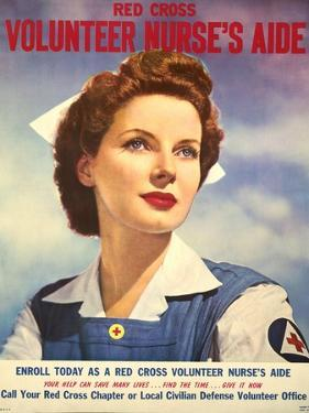U.S. Recruitment Poster for Red Cross Volunteer Nurse's Aide During World War 2, June 1943