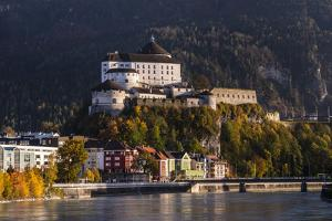 Austria, Tyrol, Kaiser Mountains, Inntal, Kufstein, Inn with Kufstein Fortress in Autumn by Udo Siebig