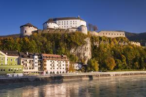 Austria, Tyrol, Kaisergebirge, Inntal (Valley), Kufstein, Innfront with Castle Kufstein in Autumn by Udo Siebig