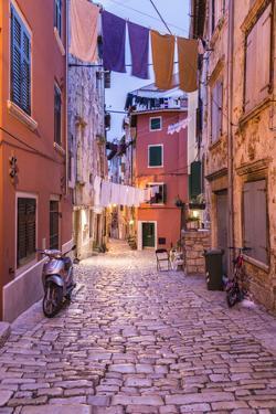 Croatia, Istria, Adriatic Coast, Rovinj, Old Town Lane in the Evening by Udo Siebig