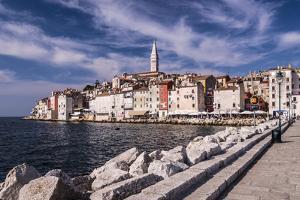 Croatia, Istria, Adriatic Coast, Rovinj, South View of the Old Town with Church Sv. Eufemija by Udo Siebig