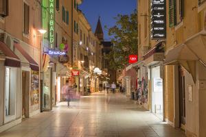 Croatia, Istria, Adriatic Coast, Umag, Pedestrian Area in the Old Town in the Evening by Udo Siebig