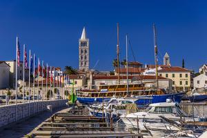 Croatia, Rab Rab, Marina with Altstadt by Udo Siebig