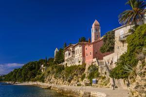 Croatia, Rab Rab Town, Promenade with Monastery Sveti Andrija by Udo Siebig
