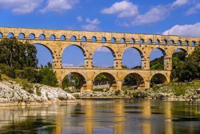 France, Languedoc-Roussillon, Gard, Vers-Pont-Du-Gard, River Gardon, Pont Du Gard by Udo Siebig
