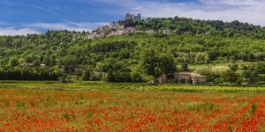 France, Provence, Vaucluse, Lacoste, Poppy Field with View of the Village by Udo Siebig
