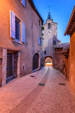 France, Provence, Vaucluse, Roussillon, Old Town Alley with Bell Tower by Udo Siebig
