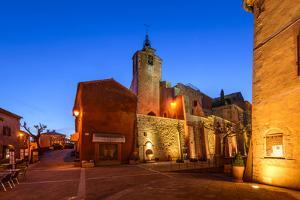 France, Provence, Vaucluse, Roussillon, Town Hall Square, Church by Udo Siebig