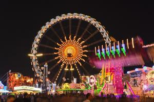Germany, Bavaria, Munich, Oktoberfest, Oktoberfest, Ferris Wheel, Night by Udo Siebig