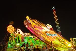 Germany, Bavaria, Munich, Theresienwiese, Oktoberfest, Play Ball Carousel, Night by Udo Siebig