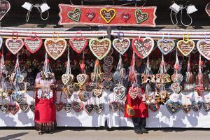 Germany, Bavaria, Munich, Theresienwiese Oktoberfest, Souvenir Stand, Gingerbread Hearts by Udo Siebig