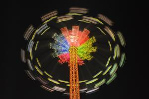 Germany, Bavaria, Munich, Theresienwiese Oktoberfest, Star Flyer Carousel, Night by Udo Siebig