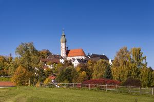 Germany, Bavaria, Upper Bavaria, FŸnfseenland, Andechs, Autumn Landscape with Abbey Andechs by Udo Siebig