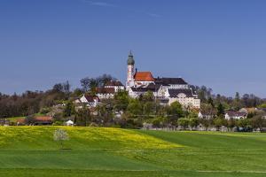 Germany, Bavaria, Upper Bavaria, FŸnfseenland, Andechs, Spring Landscape with Abbey Andechs by Udo Siebig