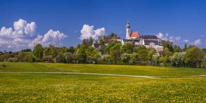 Germany, Bavaria, Upper Bavaria, FŸnfseenland, Andechs, Spring Scenery with Cloister of Andechs by Udo Siebig