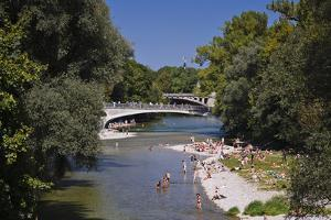 Germany, Bavaria, Upper Bavaria, Munich, Isar Shore, Cable Bridge, Praterinsel by Udo Siebig