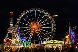 Germany, Bavaria, Upper Bavaria, Munich, Theresienwiese, Oktoberfest, Big Wheel, at Night by Udo Siebig