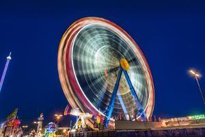 Germany, Bavaria, Upper Bavaria, Munich, Theresienwiese, Oktoberfest, Big Wheel, Evening Mood by Udo Siebig