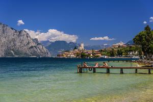 Italy, Veneto, Lake Garda, Malcesine, Townscape with Scaliger Castle by Udo Siebig