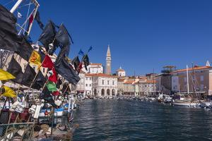 Slovenia, Slovenian Riviera, Piran, Harbour with Old Town and St. George Cathedral (Sv. Jurij) by Udo Siebig