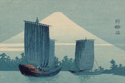 Sailboats and Mount Fuji.