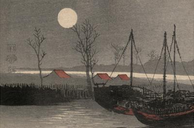 Sailboats Moored under the Moon.