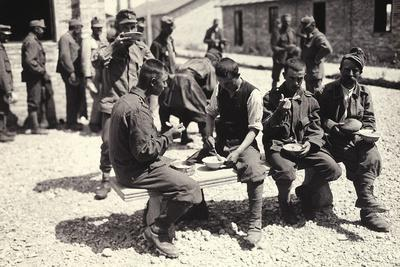 Austrian Prisoners in Bagnaria Arsa Photographed While Eating a Meal