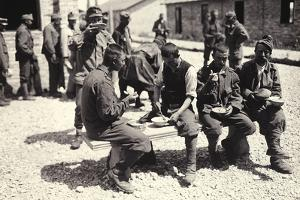 Austrian Prisoners in Bagnaria Arsa Photographed While Eating a Meal by Ugo Ojetti