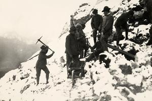 Italian Alpine Troops at Work on Monte Nero During World War I by Ugo Ojetti