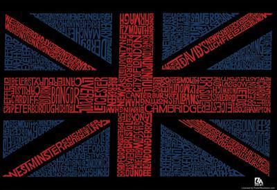 UK Cities Union Jack (Black) Text Poster