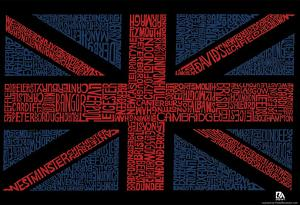 UK Cities Union Jack (Black) Text Poster
