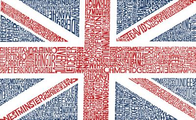 UK Cities Union Jack (White) Text Poster