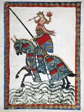Ulrich Von Liechtenstein (1200 1278) on a Trip. Codex Manesse (Ca.1300)