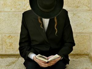Ultra-Orthodox Jew Prays at the Western Wall in Jerusalem's Old City