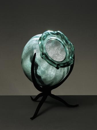 Witches Cauldron, Green Blown Glass Vase with Rib Molding, Ca 1910