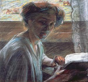 Woman Reading, 1909 by Umberto Boccioni
