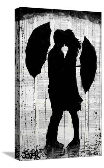 Umbrellas and Love-Loui Jover-Stretched Canvas