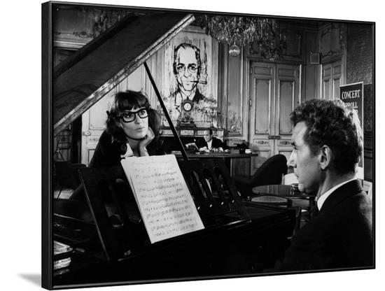Un Clair by Lune a Maubeuge by JeanCherasse with Bernadette Lafont and Pierre Perr 1962 (b/w photo)--Framed Photo