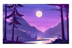 Unbelievable Mountain Landscape. Modern Vector Illustration Concept. Exciting View. A Great Mountai