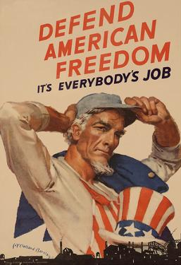 Uncle Sam Defend American Freedom It's Everybody's Job WWII War Propaganda Art Print Poster