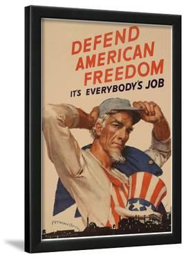 Uncle Sam Defend American Freedom It's Everybody's Job WWII War Propaganda Art Print Poster