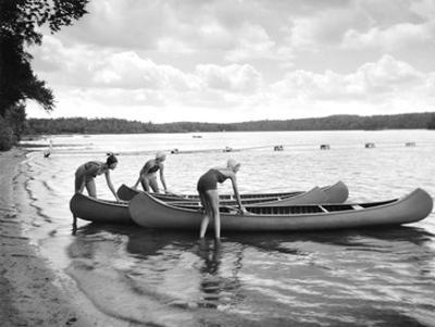 Canoers on Lake by Underwood