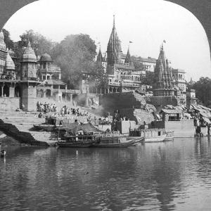 A Burning Ghat on the Ganges at Benares (Varanas), India, 1900s by Underwood & Underwood