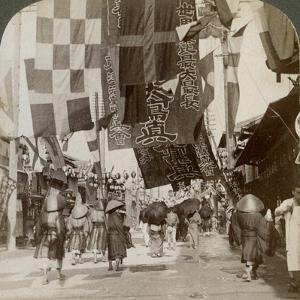 Dotombori, or Theatre Street, Osaka, Japan, 1904 by Underwood & Underwood