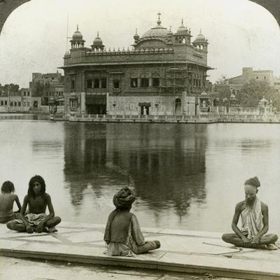 Fakirs at Amritsar, Looking South across the Sacred Tank to the Golden Temple, India, C1900s by Underwood & Underwood